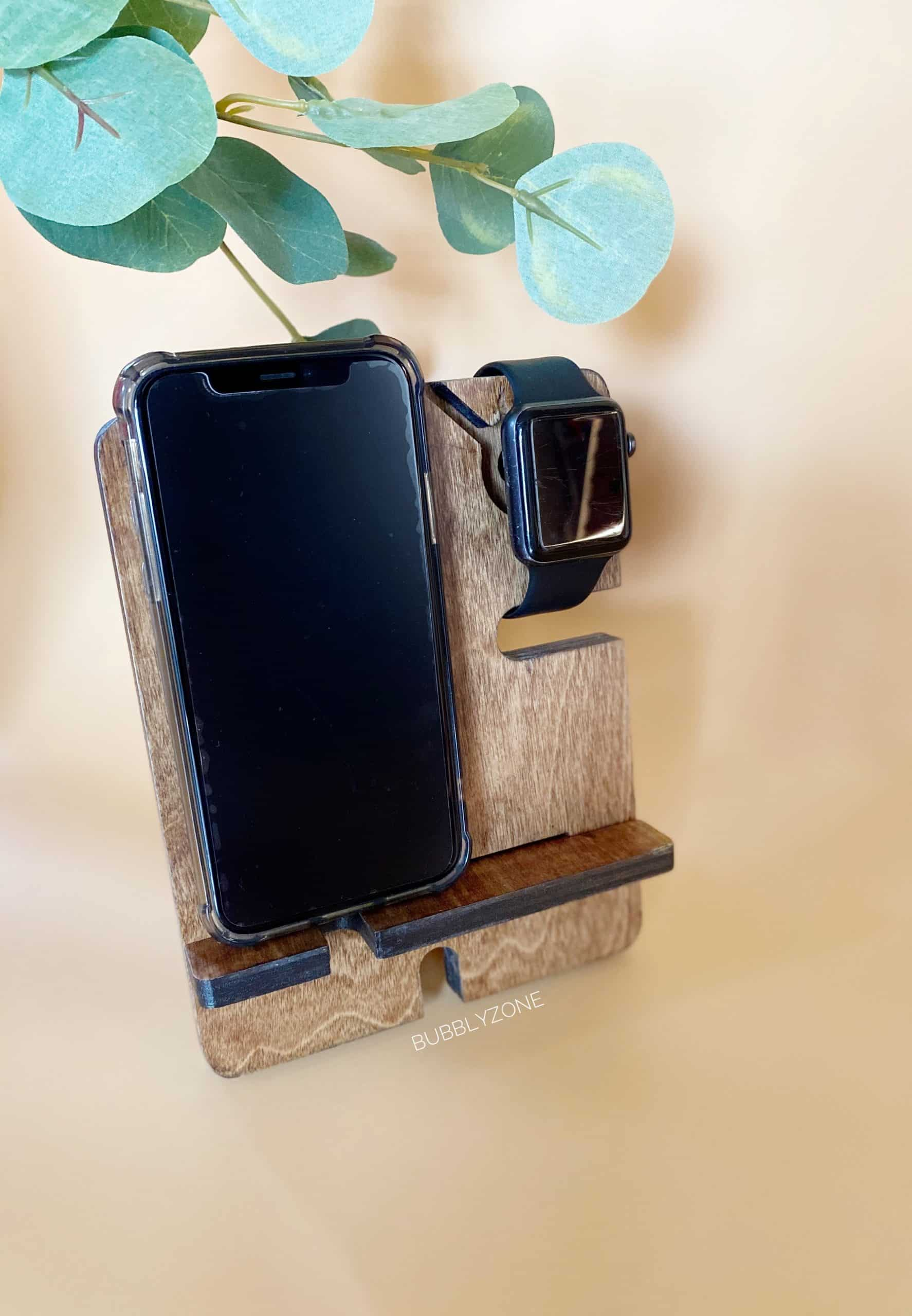 Simple Phone and watch Wooden Docking Station/ Night Stand Organiser